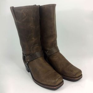 Frye 77300 Harness Brown Motorcycle Boots Size 8.5